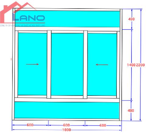 Bản vẽ cửa lùa 3 cánh nhôm xingfa - Công Ty Lano