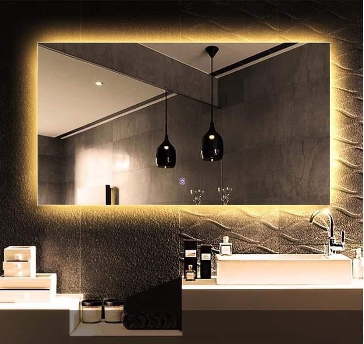 Gương đèn led màu vàng treo tường