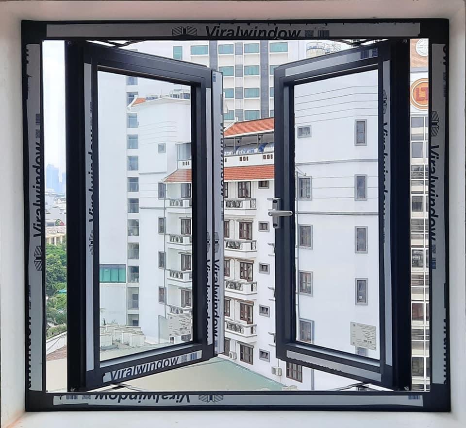 Cửa sổ mở quay 2 cánh nhôm Viral window phụ kiện HOPO chính hãng