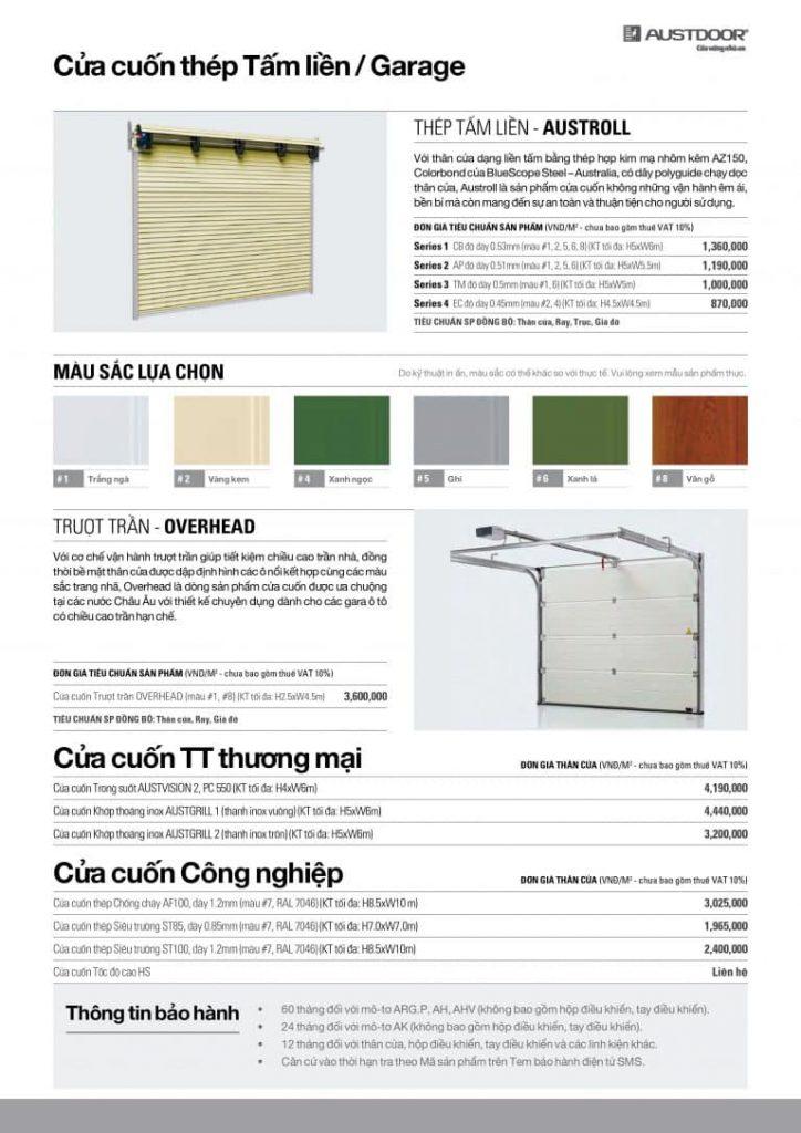 Bảng báo giá cửa cuốn Austdoor