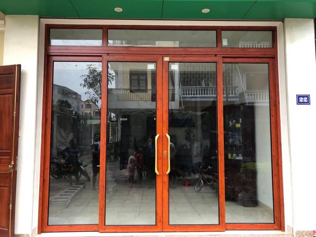 Cửa mở trượt quay 4 cánh nhôm xingfa, eurotech, zhongkai,blk, cad màu vân gỗ