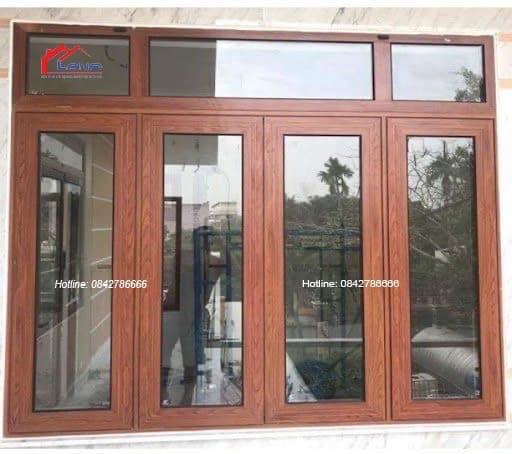 Cửa sổ mở quay 4 cánh nhôm xingfa vân gỗ nhập khẩu Quảng Đông chính hãng