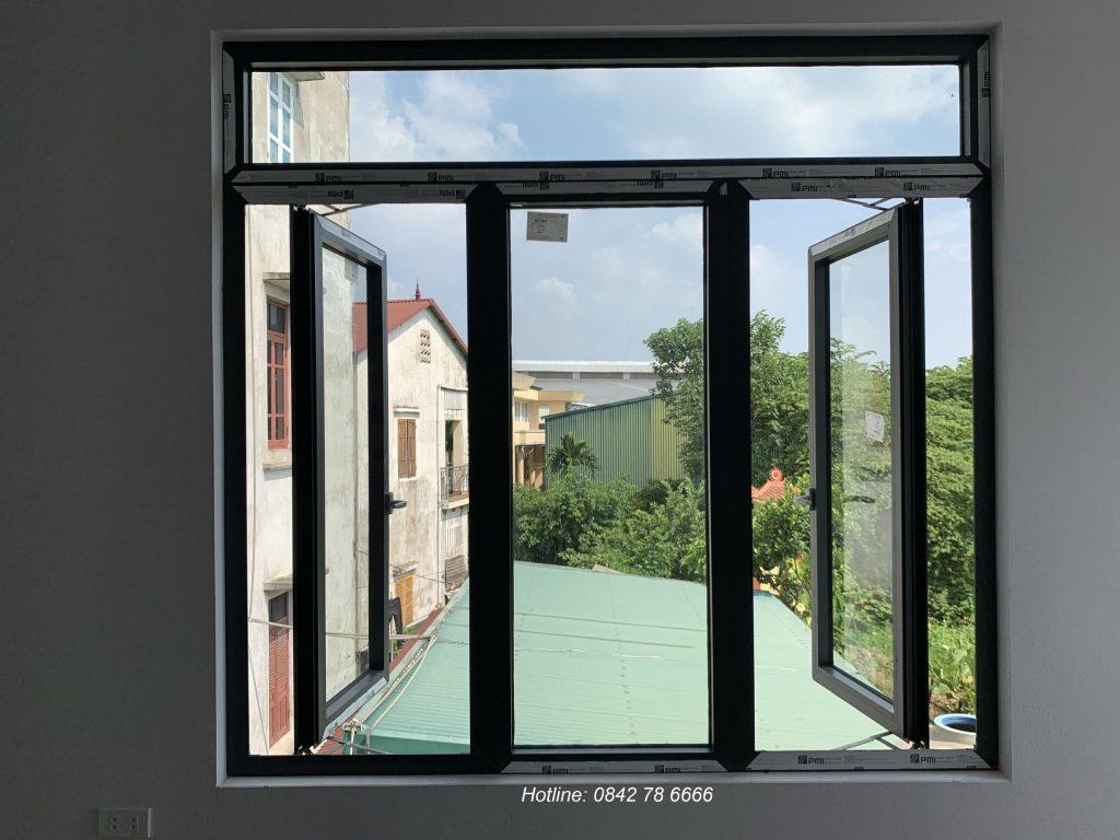 Cửa sổ mở quay 1 cánh nhôm pmi cao cấp
